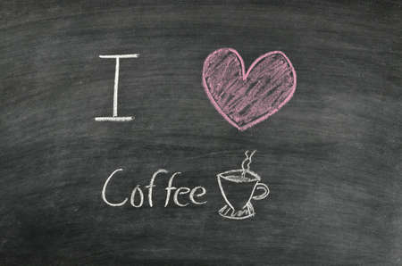 i love coffee on blackboard photo