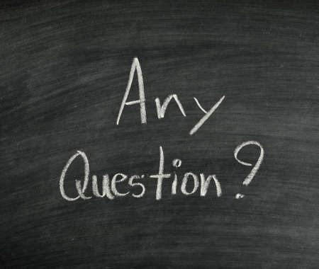 any question written on blackboard Stock Photo