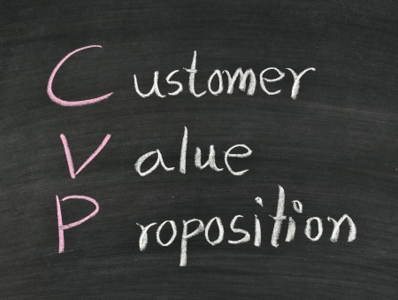 value: customer,value,proposition written on blackboard Stock Photo