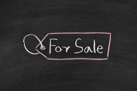 for sale tag written on blackboard Stock Photo - 17376313