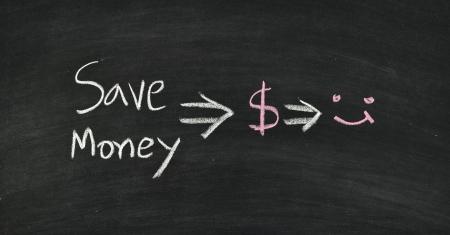 save money written on blackboard