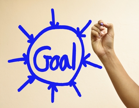 Male hand writing the word goal Stock Photo