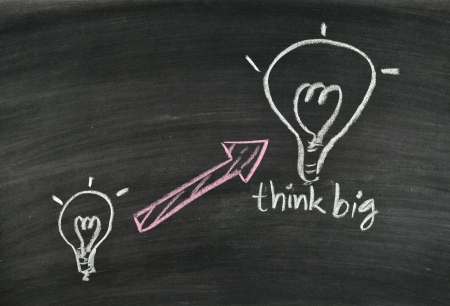 think big and light bulb on blackboard Stock Photo - 17728524