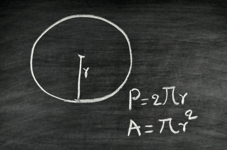 circle area and perimeter formula written on blackboard