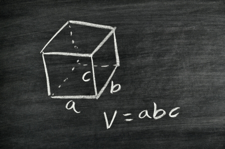 Cuboid volume formula written on blackboard