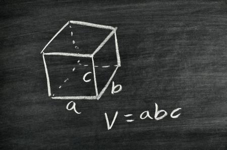 Cuboid volume formula written on blackboard