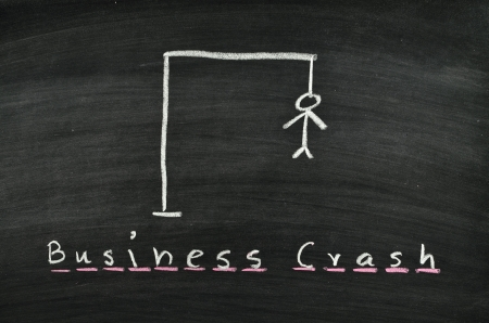 hangman and word business crash on blackboard photo