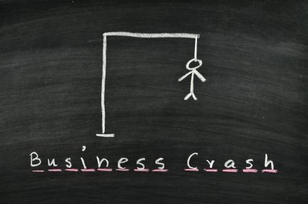 hangman and word business crash on blackboard
