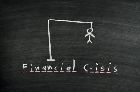 ahorcado: verdugo y la crisis financiera palabra en la pizarra
