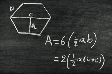 Hexagon area formula written on blackboard Stock Photo - 17728558