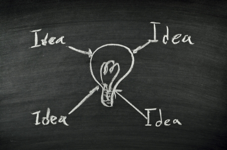 idea and light bulb on blackboard Stock Photo - 17728527
