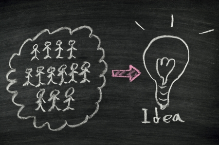 Teamwork and light bulb written on blackboard Stock Photo - 17728526