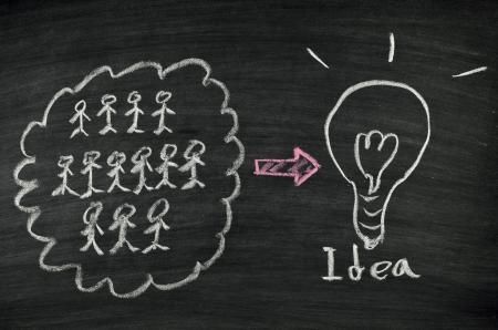 Teamwork and light bulb written on blackboard Stock Photo - 17728526