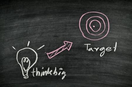 think big,light bulb and target on blackboard Stock Photo - 17728557