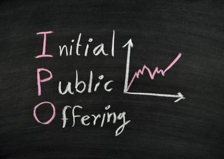 insider information: ipo,stock exchange concept on blackboard