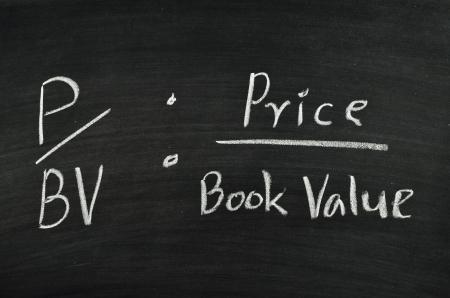 price per book value ratio written on blackboard Stock Photo
