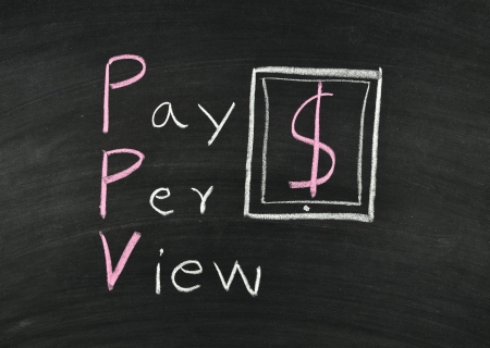 pay per view writing on blackboard Stock Photo