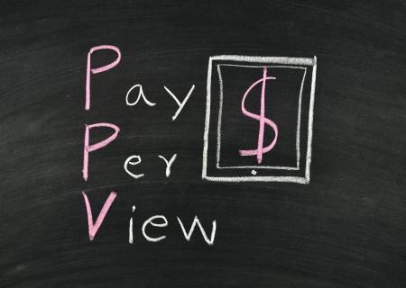 per: pay per view writing on blackboard Stock Photo