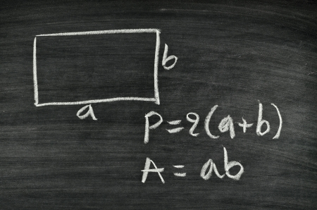 rectangular area and perimeter formula written on blackboard Stock Photo - 17728561