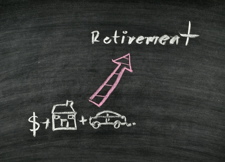 retirement concept on blackboard