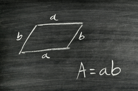 Rhomboid area formula written on blackboard Stock Photo - 17728570