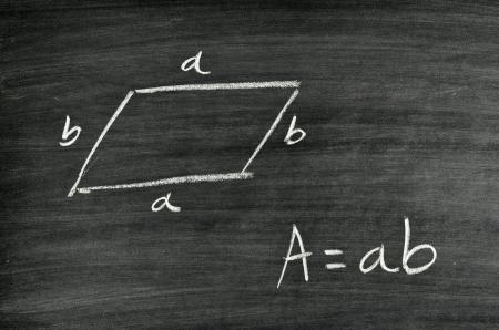 Rhomboid area formula written on blackboard Stock Photo - 17728570