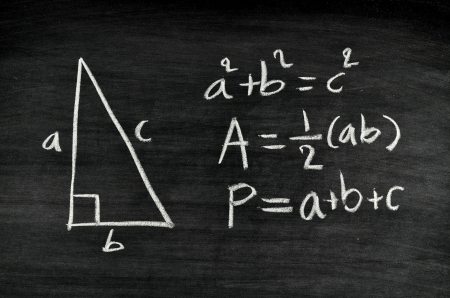 physics background: right-angled triangle area and perimeter formula written on blackboard