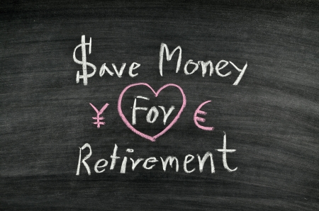 save money for retirement written on blackboard Stock Photo - 17728555