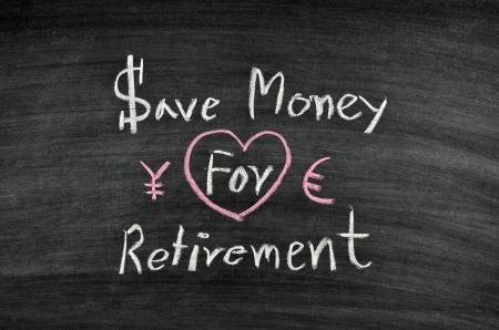 save money for retirement written on blackboard Stock Photo - 17728555