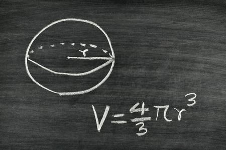 Sphere volume formula written on blackboard Stock Photo - 17728567