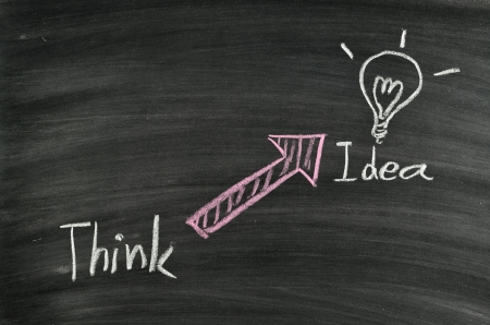 think idea and light bulb on blackboard Stock Photo - 17728534