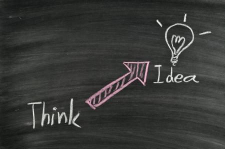 think idea and light bulb on blackboard Stock Photo - 17728534