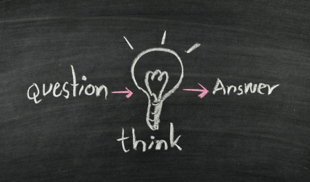 question,think,answer and lightbulb on blackboard Stock Photo