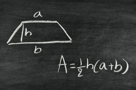 trapezoid: Trapezoid area formula written on blackboard Stock Photo