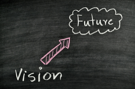 vision and future written on blackboard