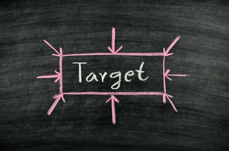 the word target written on blackboard Stock Photo - 17728566