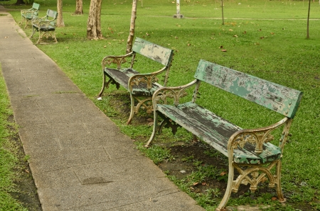 old benches on garden Stock Photo - 17926040