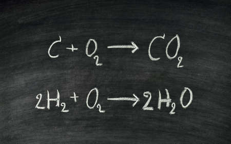 Hand written chemical equation on blackboard Stock Photo - 17926029
