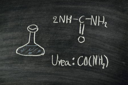 urea: molecule structure of urea acid written on blackboard