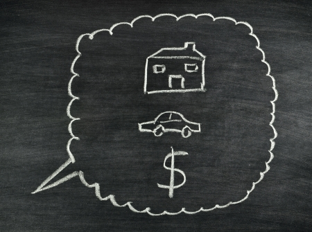 a dreaming of house,car and money drawing on blackboard Stock Photo - 17926034
