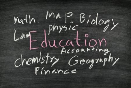 education written on blackboard
