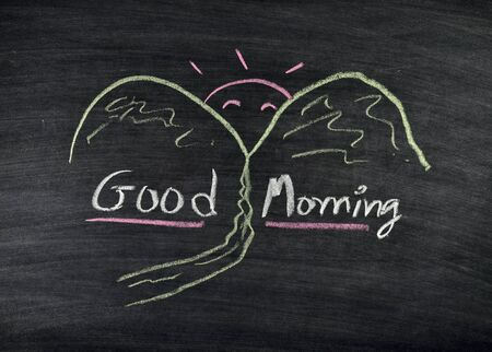 good morning title written on blackboard Stock Photo - 17926038