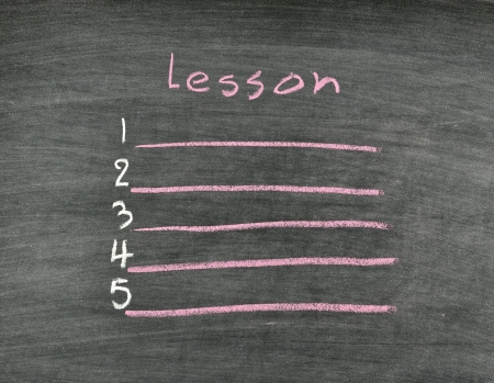 lesson list written on blackboard