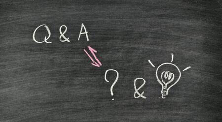 question and answer written on blackboard Stock Photo - 17926033