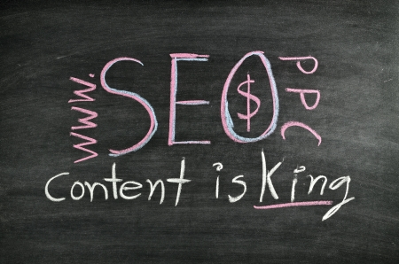 Search Engine Optimization concept:Content is king written on blackboard Stock Photo - 17932680