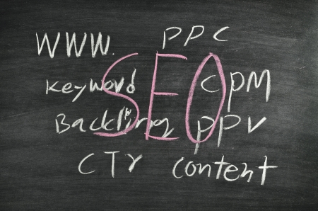 Search Engine Optimization concept written on blackboard Stock Photo - 17926042