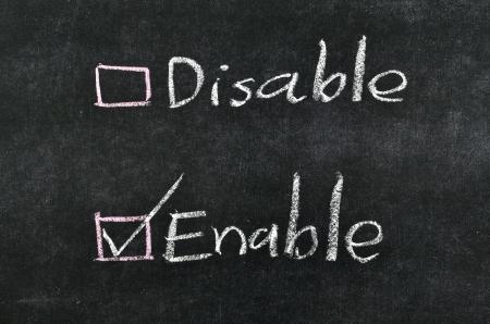 enable: checking enable written on blackboard