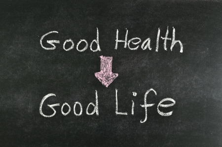 healthy choices: good health and good life word written on blackboard Stock Photo