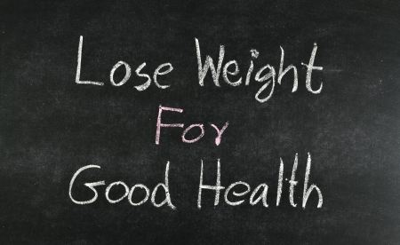 Lose weight for good health word written on blackboard photo