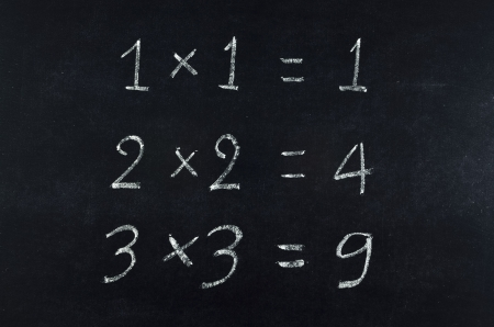 simple multiplication equation on blackboard photo